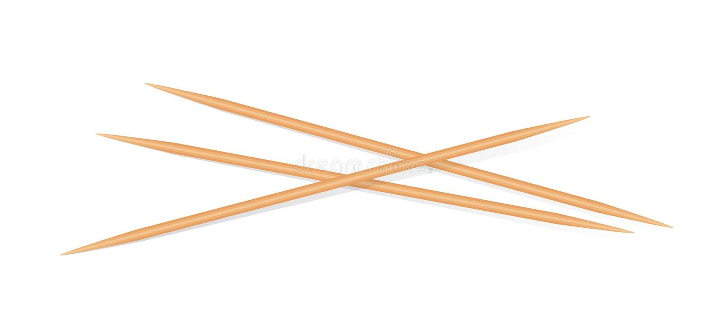 Trätandpetare som isoleras på vit bakgrund, skarpt för bambutandpetare litet realistiskt tandpetareträ royaltyfri illustrationer