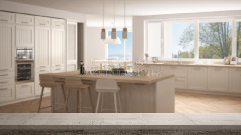 Trätappningtabellöverkant eller hyllacloseup, zenlynne, över suddigt modernt Skandinavien kök med stora panorama- fönster, vit bå royaltyfria bilder