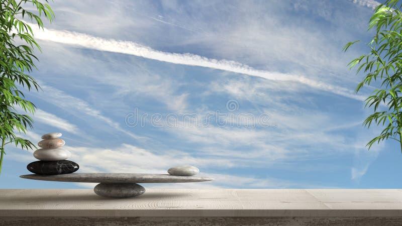 Trätappningtabell eller hylla med stenjämvikt, över blå clowdy himmel, fengshui, inre för zenbegreppsarkitektur vektor illustrationer