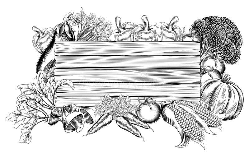 Trätecken för ny trädgårds- grönsak vektor illustrationer