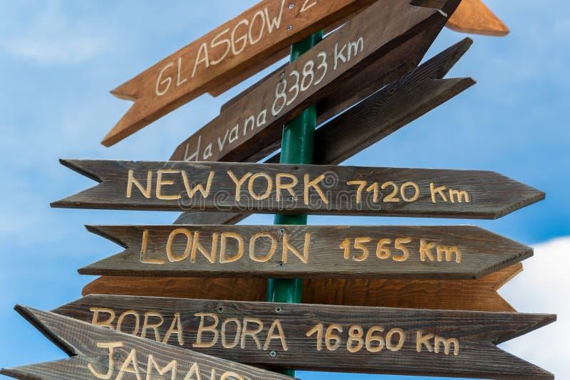 Trätecken med namn av städer arkivbild