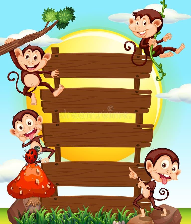 Trätecken och fyra apor royaltyfri illustrationer