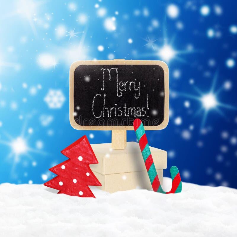 Trätecken och julgåva arkivfoton
