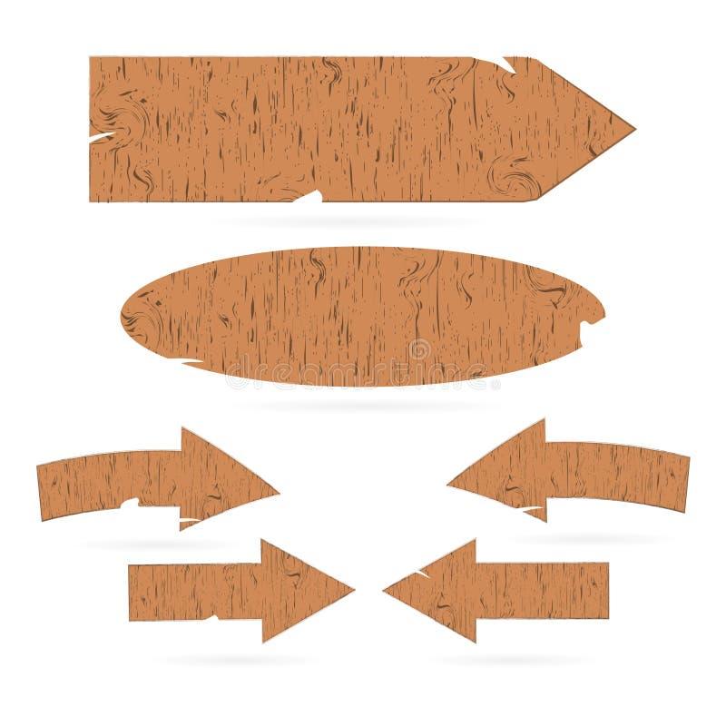 Trätecken, pilar, skyltar stock illustrationer