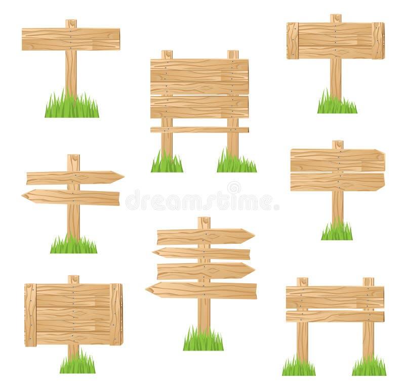 Träteckenanseende i grönt gräs royaltyfri illustrationer