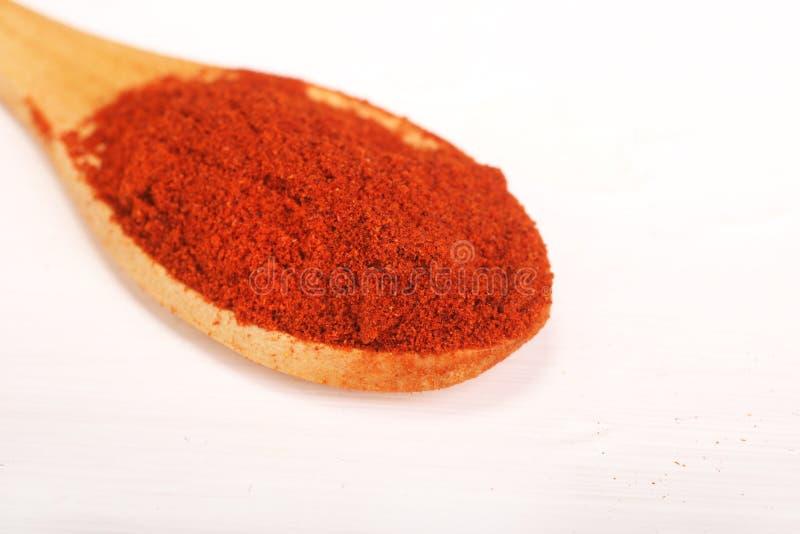 Trätjänande som sked mycket av för paprikakrydda för röd peppar som pulver isoleras över den vita bakgrunden arkivbild