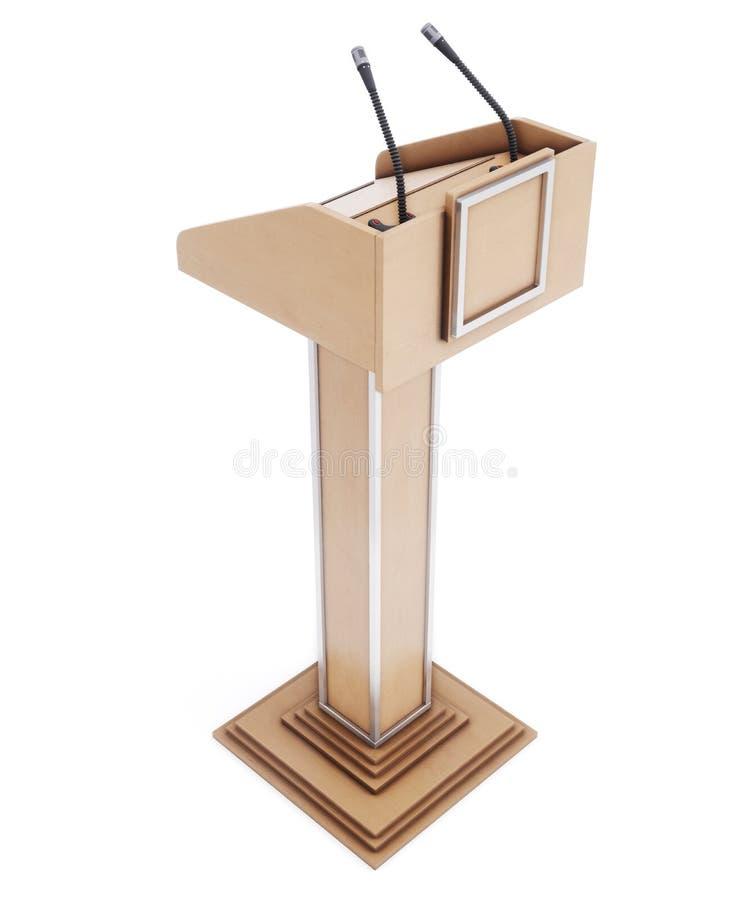 Trätribun med mikrofoner för att tala som läser föreläser stock illustrationer