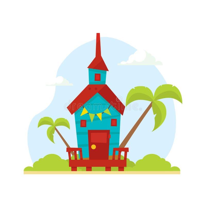 Trätropisk bungalow, hus på strand-, lopp- och semestervektorillustration stock illustrationer