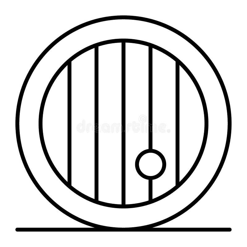 Trätunn linje symbol för öltrumma Fat av ölvektorillustrationen som isoleras på vit Frontal stil för ölbarelöversikt vektor illustrationer