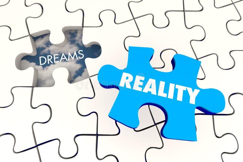 Träume werden Wirklichkeits-Puzzlespiel-Stück-Schluss vektor abbildung