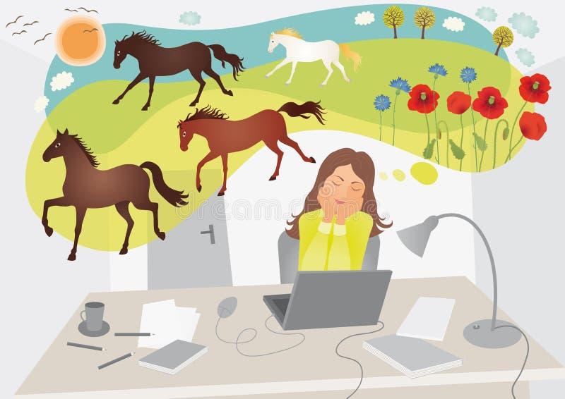Träumen im Büro stock abbildung