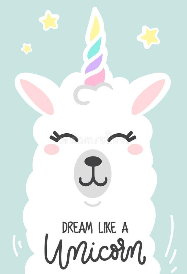 Träumen Sie wie ein inspirierend Plakat des Einhorns mit Lama und Sternen lizenzfreie stockbilder