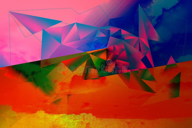 Träumerisch, Zusammenfassung, Mehrfarben-, geometrischer Hintergrund lizenzfreie abbildung