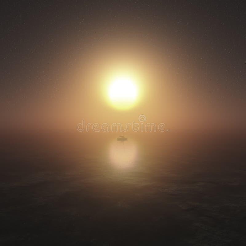 Träumerische Sonnenuntergang-Szene lizenzfreie abbildung