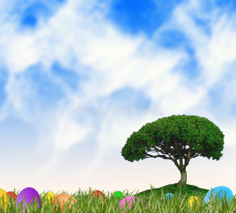 Träumerischer Frühling und Ostern-Landschaft stock abbildung