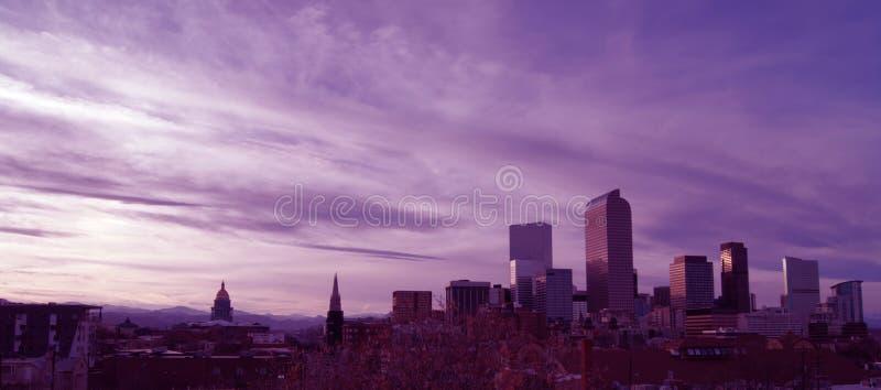 Träumerischer Pastell-Denver Colorado City Skyline stockfotografie