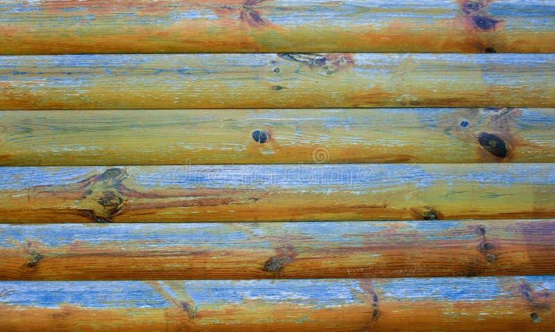 Trävägg med skalningsmålarfärg royaltyfri foto