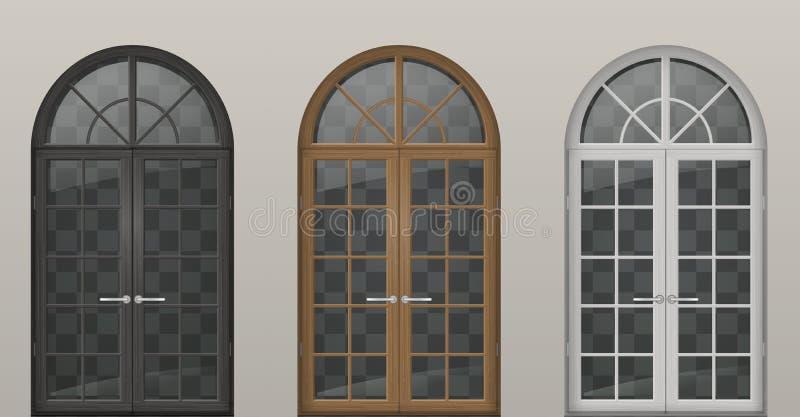Trävälvda dörrar vektor illustrationer