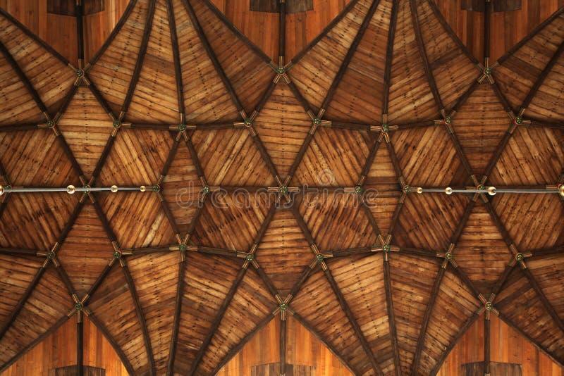 Trävälvt tak i Groten Kerk i Haarlem, Nederländerna arkivfoton