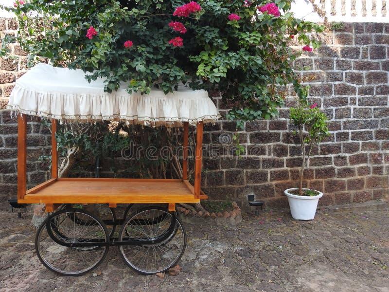 Trävagn och blommor, fort Tiracol royaltyfria foton