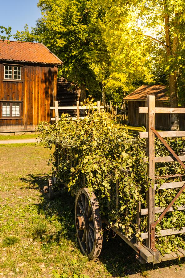 Trävagn på den traditionella norska lantgården fotografering för bildbyråer