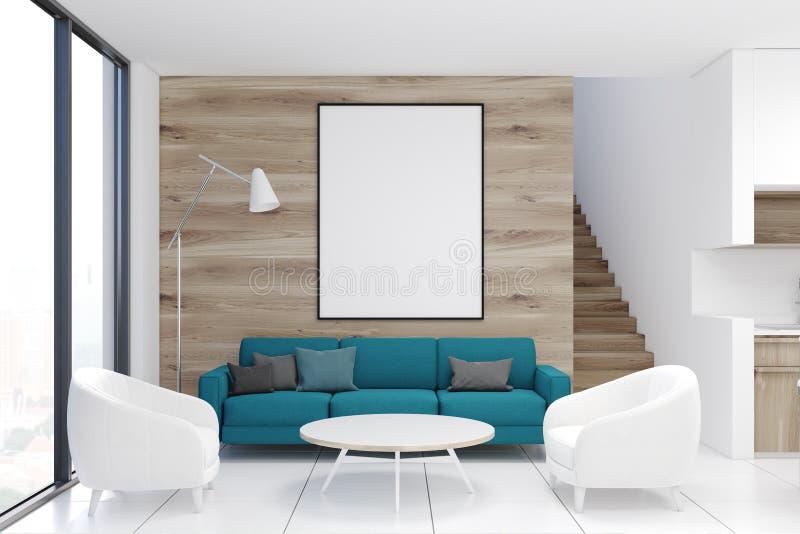 Trävardagsrum, blå soffa, affisch royaltyfri illustrationer