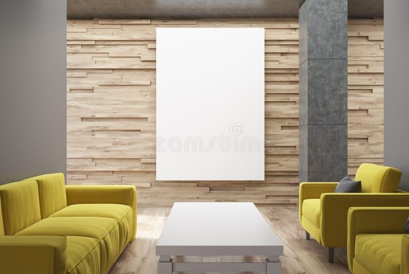 Trävardagsrum, gula soffor, affisch vektor illustrationer