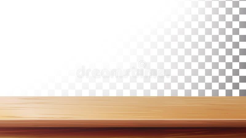 Trävektor för tabellöverkant Isolerat på genomskinlig bakgrund stock illustrationer