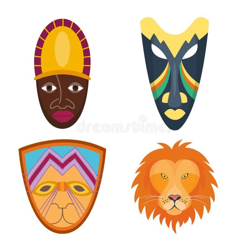 Trävektor målad stam- etnisk illustration för afrikansk för maskeringshantverkavatar kultur för souvenir vektor illustrationer