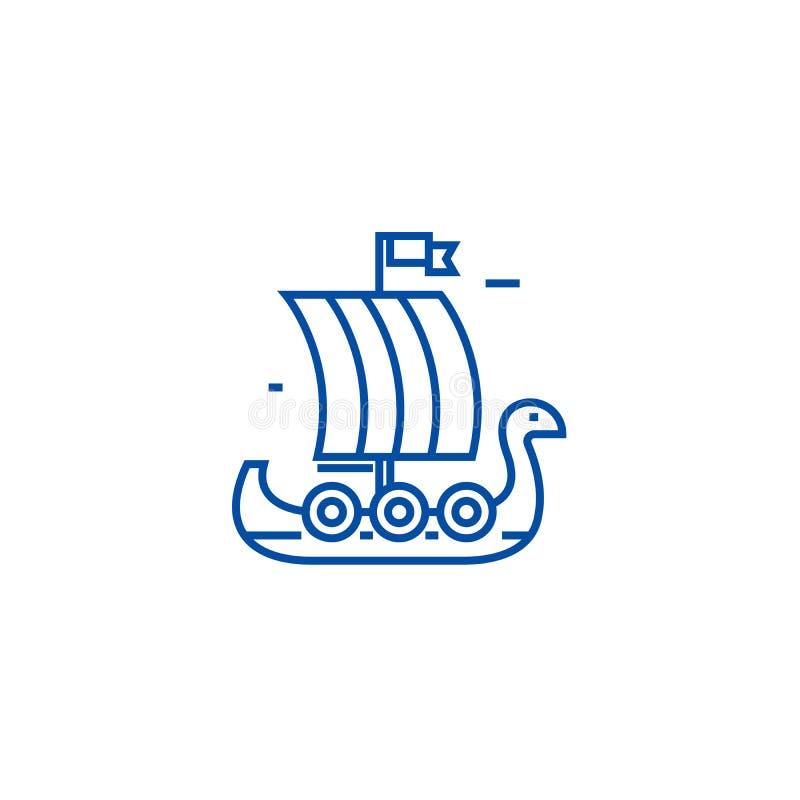 Träviking skepplinje symbolsbegrepp Symbol för vektor för träviking skepp plant, tecken, översiktsillustration royaltyfri illustrationer