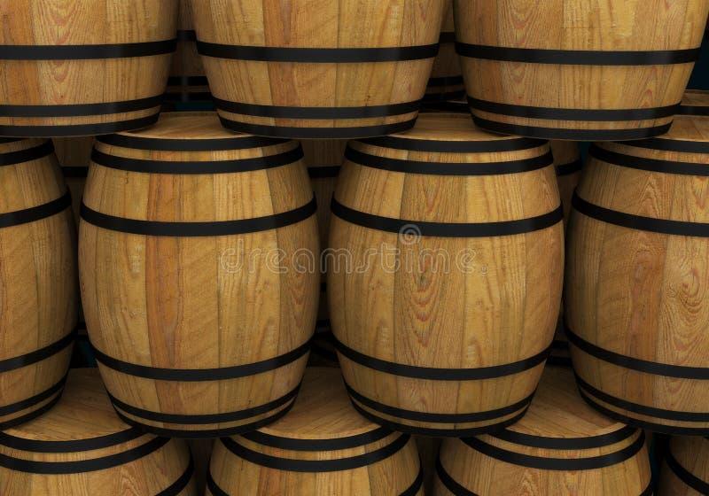 Trävinfat alkoholöltrumma stock illustrationer