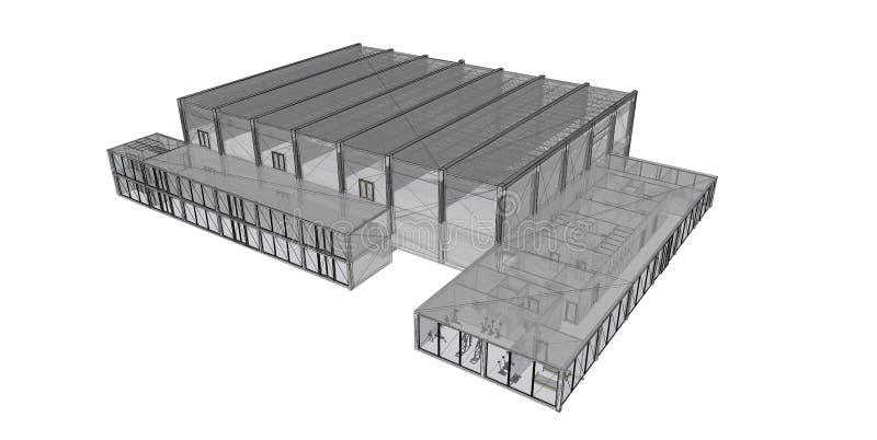 tråd för framförande för ram för byggnad 3d royaltyfri illustrationer