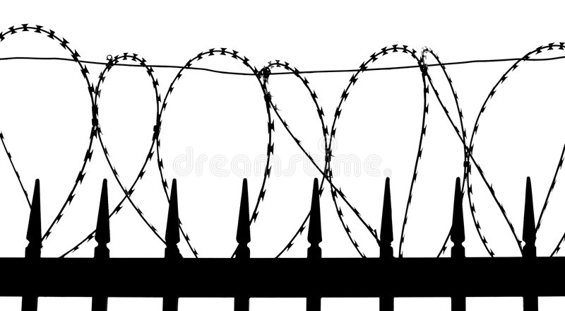 tråd för staketmetallrakkniv arkivfoto