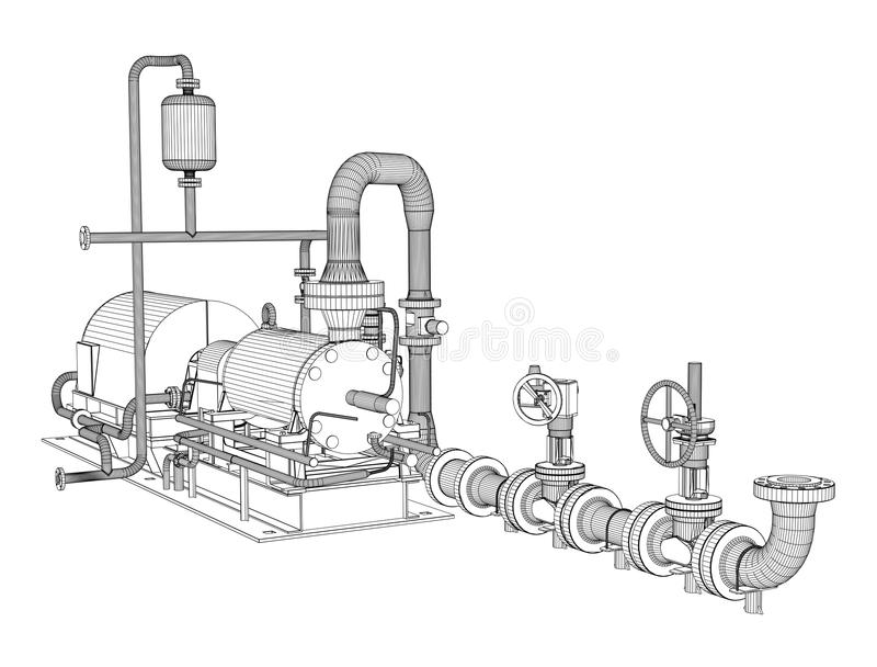 Tråd-ram industriell pump vektor illustrationer