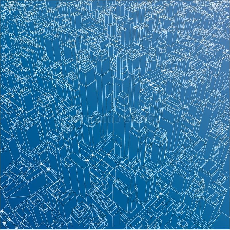 Tråd-ram stad, ritningstil vektor vektor illustrationer