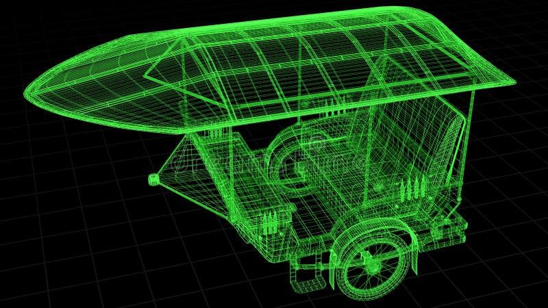 Tråd-ramen sikten av Tuk Tuk i Asien 3D framförde fullständigt vektor illustrationer