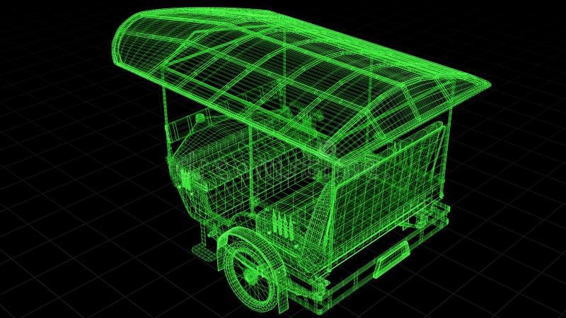 Tråd-ramen sikten av Tuk Tuk i Asien 3D framförde fullständigt stock illustrationer