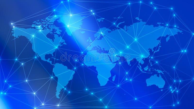 Trådar för spionage för digitalt nätverk för värld digitala och cirkelprickanslutningar arkivbilder