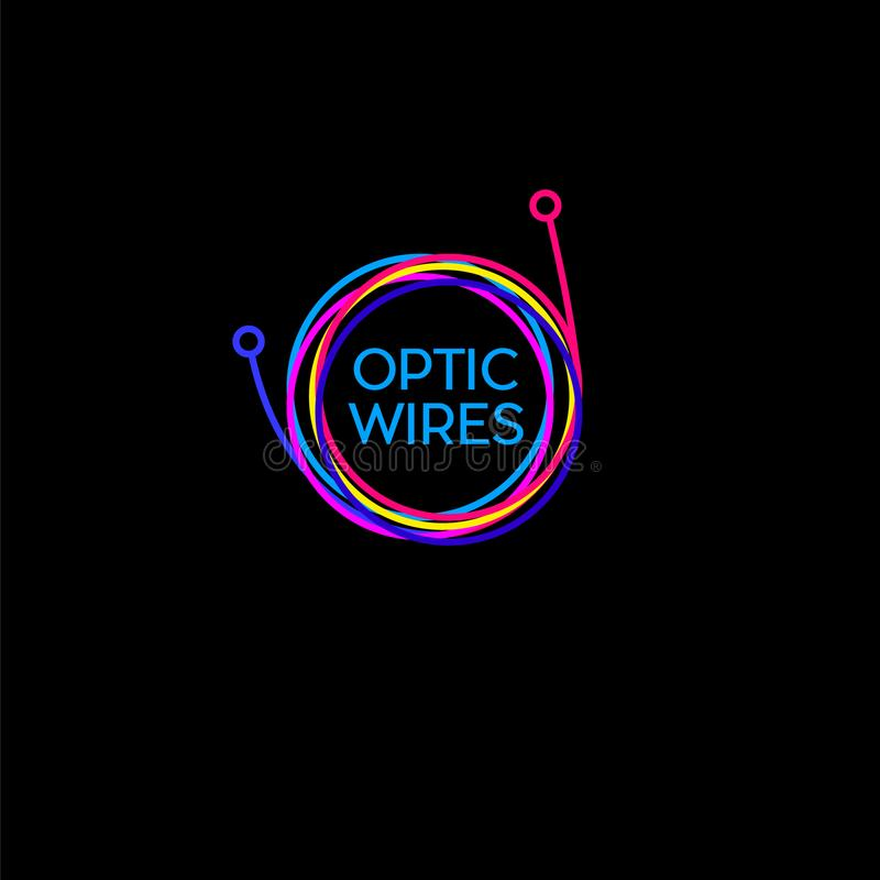 Trådar kabellogo Härva av kabel på en mörk bakgrund Kulör kabel, logo för optisk fiber vektor illustrationer