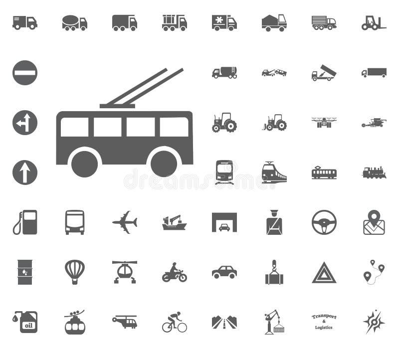 Trådbusssymbol Fastställda symboler för transport och för logistik Fastställda symboler för trans. vektor illustrationer