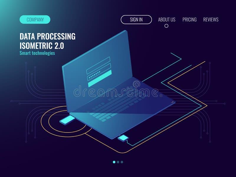 Trådlös anslutning för internet, data - bearbeta, informationsbesparing, inloggningsform på bärbar datorskärmen, användarepasswor stock illustrationer