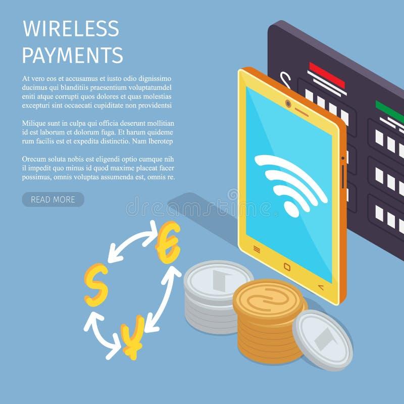 Trådlös illustration för sida för information om betalninginternet stock illustrationer