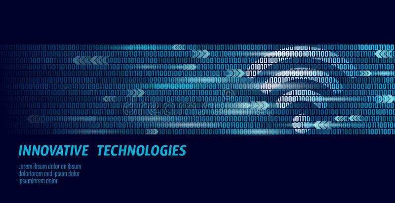 Trådlös internetwifianslutning Stora nummer för flöde för binär kod för data Snabb innovationanslutning för globalt nätverk vektor illustrationer