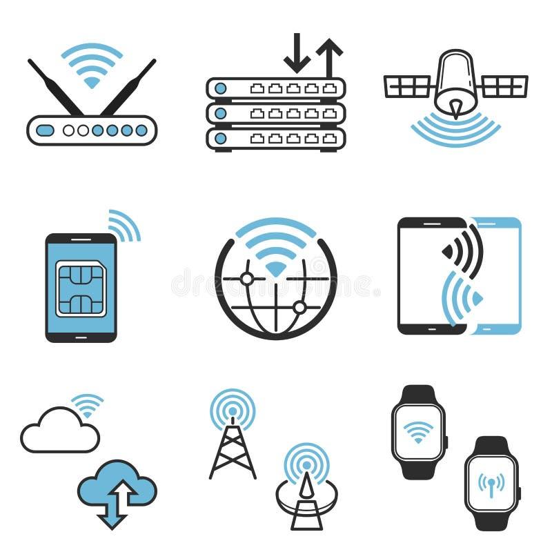 Trådlös knyta kontakt uppsättning för symbol för teknologivektordesign stock illustrationer