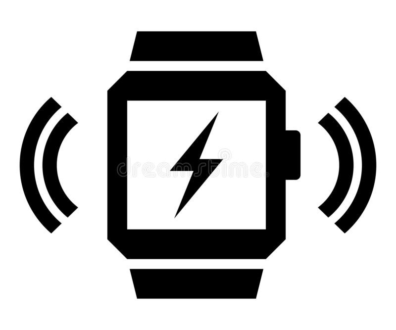 Trådlös laddande smartwatchsymbol arkivbild