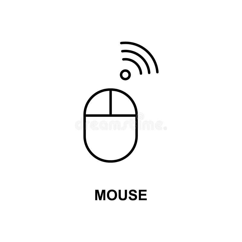 Trådlös mussymbol Beståndsdel av teknologisymbolen med namnet för mobila begrepps- och rengöringsdukapps Den tunna linjen trådlös stock illustrationer