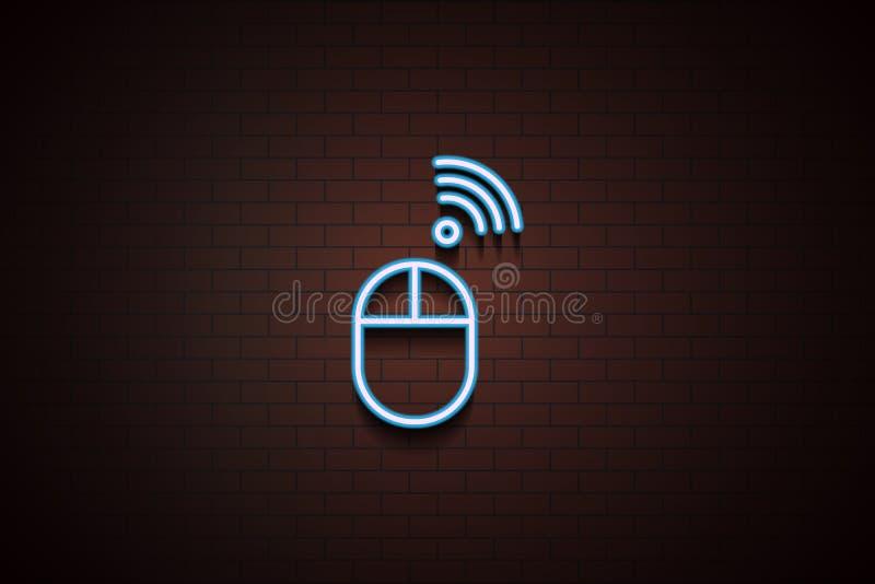 trådlös mussymbol i neonstil stock illustrationer