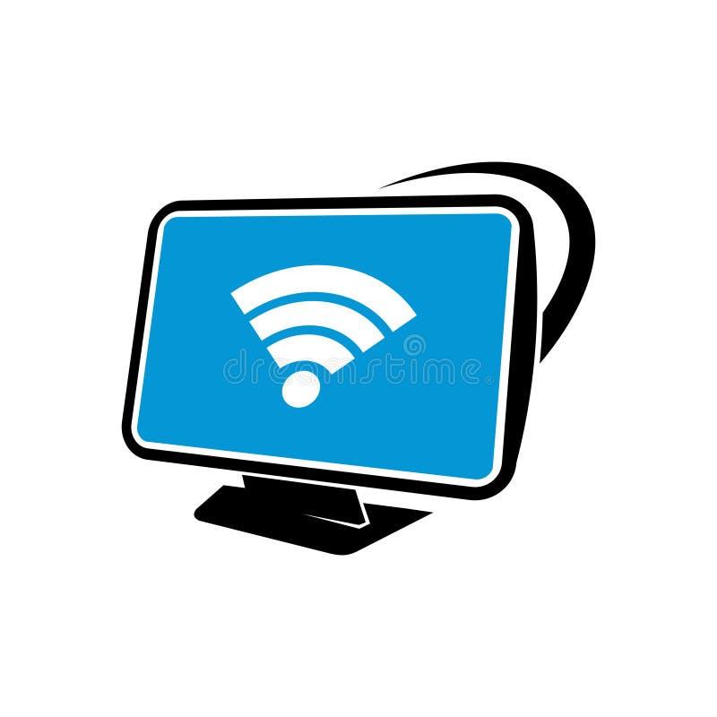 Trådlös teknologi för bildskärmdatornätverkande Logo Icon vektor illustrationer