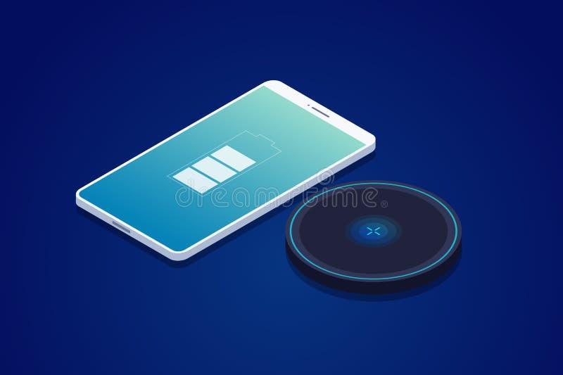 Trådlös uppladdare för smartphone moderna teknologier stock illustrationer
