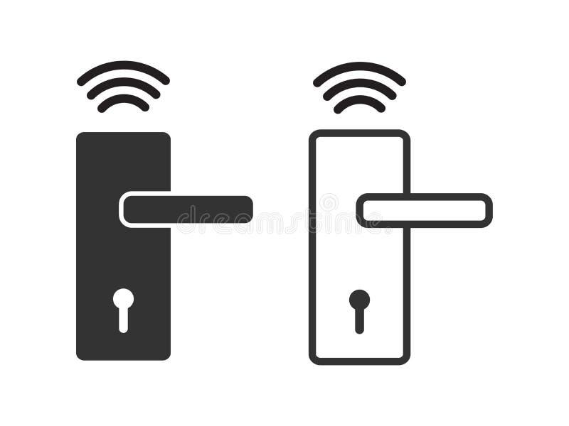 Trådlös vektor för symbol för dörrlås, smart låssystem för den grafiska designen, logo, webbplats, socialt massmedia, mobil app,  royaltyfri illustrationer